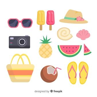 Verzameling van platte zomer elementen