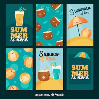 Verzameling van platte zomer kaarten