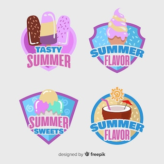 Verzameling van platte zomerlabels