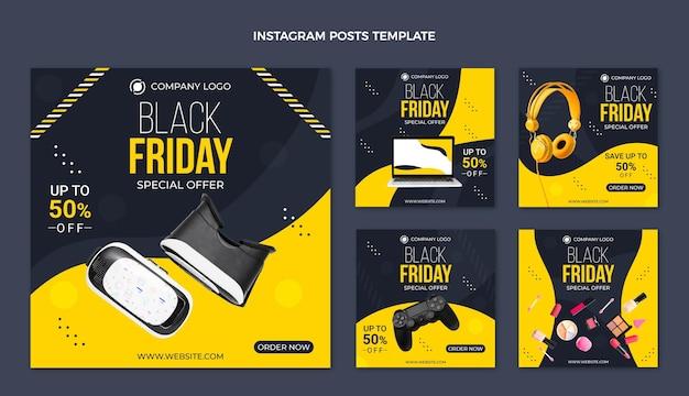 Verzameling van platte zwarte vrijdag instagram-berichten