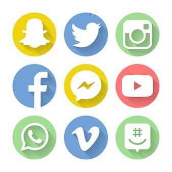 Verzameling van populaire social media iconen