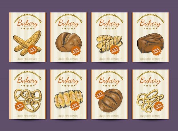 Verzameling van posters met verschillende bakkerijproducten