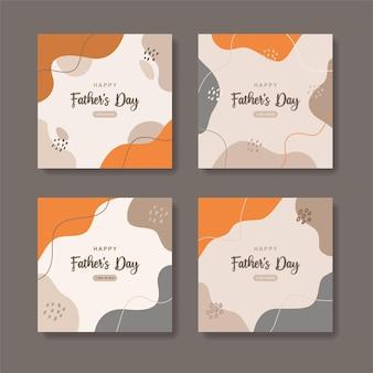 Verzameling van posts op sociale media voor gelukkige vadersdag