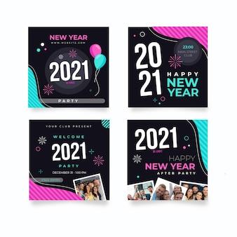 Verzameling van posts op sociale media voor het nieuwe jaar
