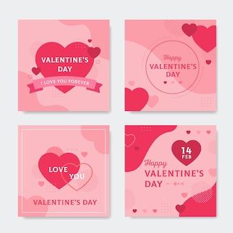 Verzameling van posts op sociale media voor valentijnsdag