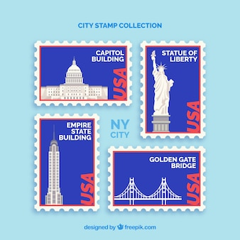 Verzameling van postzegels met ons oriëntatiepunten