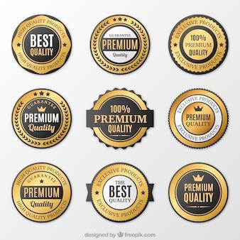 Verzameling van premium gouden stickers