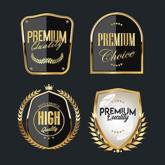 Verzameling van premium kwaliteit badges en labels sjabloon