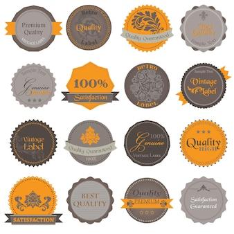 Verzameling van premium kwaliteits- en garantielabels