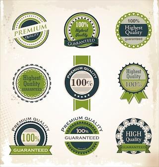 Verzameling van premiumkwaliteits- en garantie-etiketten