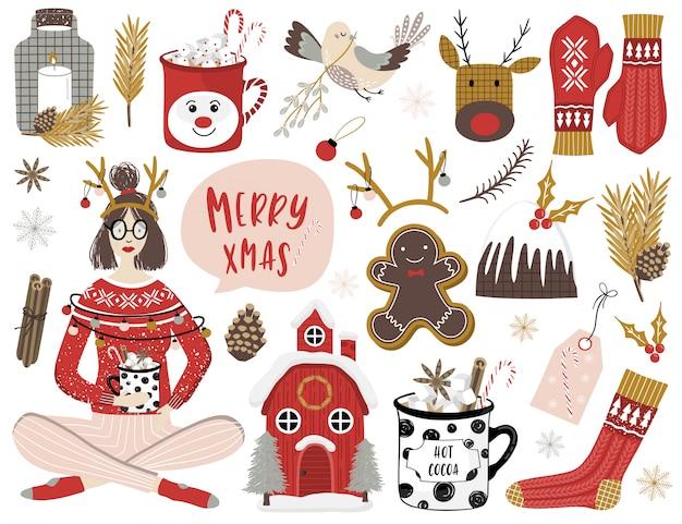 Verzameling van prettige kerstdagen en gelukkig nieuwjaar elementen.