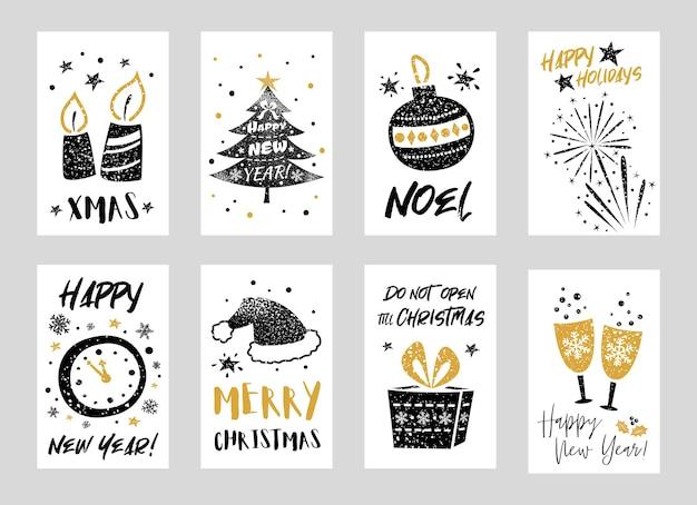 Verzameling van prettige kerstdagen en gelukkig nieuwjaar wenskaarten met decoratieve elementen