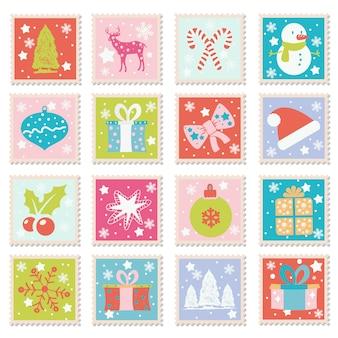 Verzameling van prettige kerstdagen en gelukkig nieuwjaar