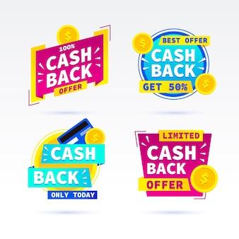 Verzameling van promotionele cashback-labels