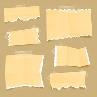 Verzameling van realistisch gescheurd papier