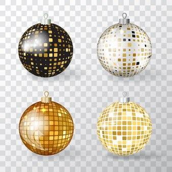 Verzameling van realistische 3d kerstballen met gouden mozaïek ornament. set discoball xmas-kerstballen of nieuwjaarsdecoratiebalelementen