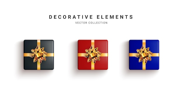 Verzameling van realistische geschenkdozen, decoratieve cadeaus op wit wordt geïsoleerd