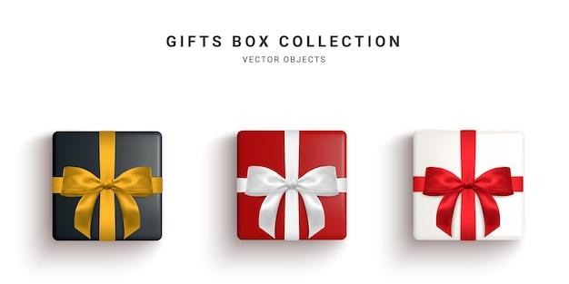 Verzameling van realistische geschenkdozen, decoratieve cadeautjes geïsoleerd op een witte achtergrond.