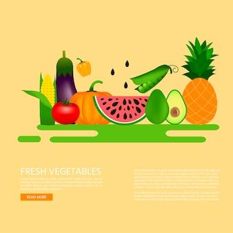 Verzameling van realistische gezonde groenten zoals: wortel, tomaat, paprika, aubergine, pompoen, merg, courgette. kwaliteits vectoraffiche, banner over dieet, ecovoedsel.