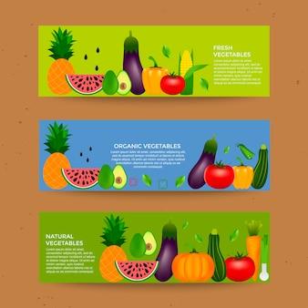 Verzameling van realistische gezonde groenten zoals wortel tomaat peper aubergine pompoen merg