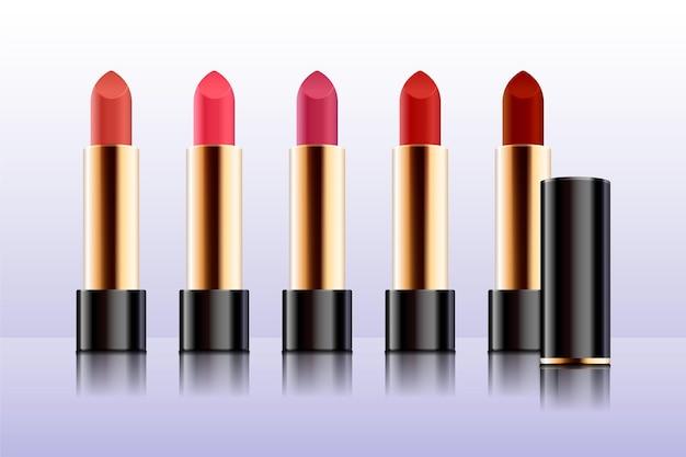 Verzameling van realistische lipsticks met verschillende kleuren