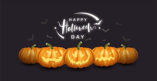 Verzameling van realistische pompoen met blij en lachend gezicht. halloween.