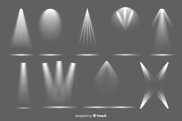 Verzameling van realistische schijnwerperverlichting