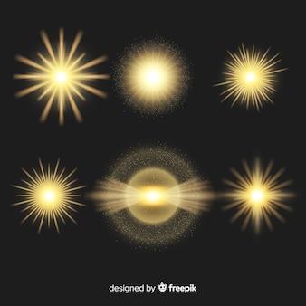 Verzameling van realistische uitbarstingen van licht