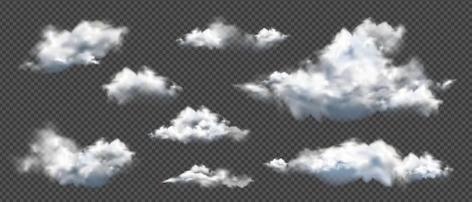 Verzameling van realistische verschillende wolken