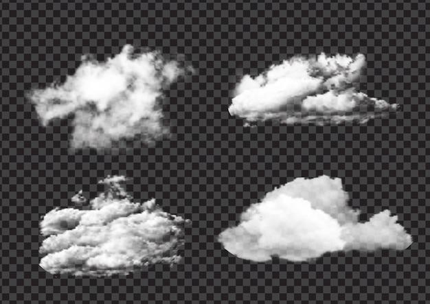 Verzameling van realistische vlaag witte wolkontwerpen