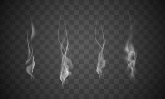 Verzameling van realistische witte rookstoom, golven van koffie, thee, sigaretten, warm eten geïsoleerd op transparante achtergrond. vector illustratie