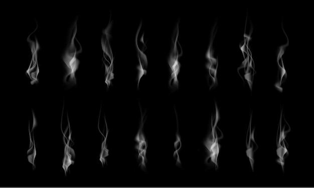 Verzameling van realistische witte rookstoom, golven van koffie, thee, sigaretten, warm eten geïsoleerd op zwarte achtergrond. vector illustratie
