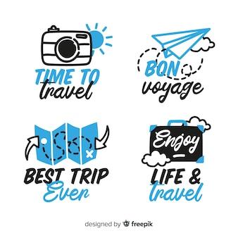 Verzameling van reizen belettering badges