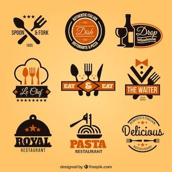 Verzameling van restaurant badges