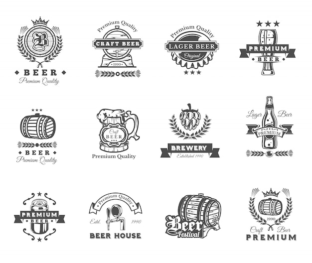 Verzameling van retro bier emblemen, badges, stickers