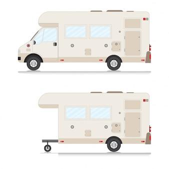 Verzameling van retro camper trailer collectie.