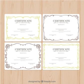 Verzameling van retro certificaatsjablonen