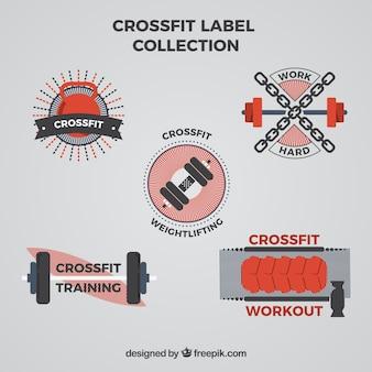 Verzameling van retro crossfit stickers