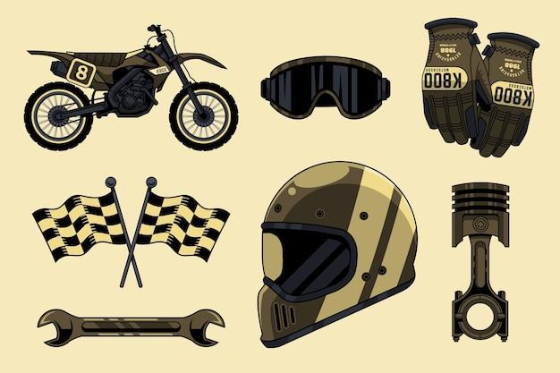 Verzameling van retro motorcross-elementen