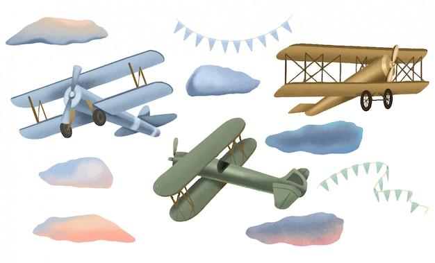 Verzameling van retro vliegtuigen, wolken en feestelijke slingers, hand getrokken geïsoleerd