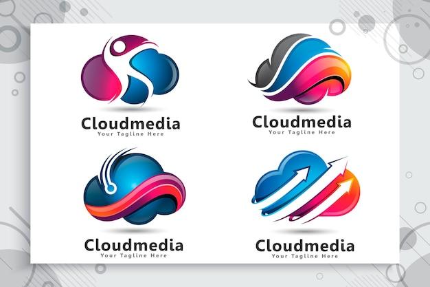 Verzameling van rocket cloud-logo instellen