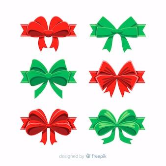 Verzameling van rode en groene kerst linten