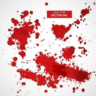 Verzameling van rode inkt splatter achtergrond