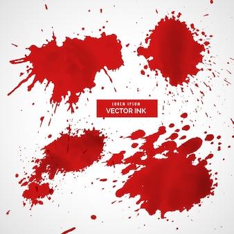 Verzameling van rode inkt splatter vector