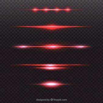 Verzameling van rode lens flare divider