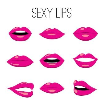 Verzameling van rode lippen