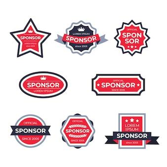 Verzameling van rode sponsoretiketten