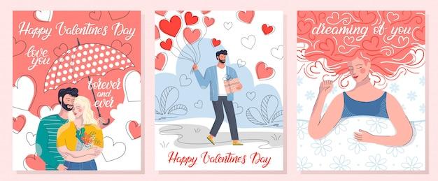 Verzameling van romantische illustraties met knuffelen paar, dromen vrouw en man met ballonnen.