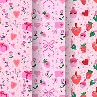 Verzameling van romantische naadloze patroon voor valentijnsdag. vector hand getekende illustratie.