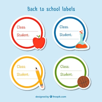 Verzameling van ronde terug naar school badges